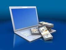 Computer con soldi Immagine Stock