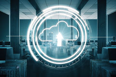 Computer concept. Abstract loading cloud in office interior with night city view. Computer concept. 3D Rendering Stock Image