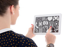 Computer concept - tablet pc with multimedia applications in fem Royalty Free Stock Photography