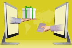 Computer concept, two hands from computers. hand with gift box and passport. 3d illustration. Ecommerce concept, hands from laptops. hand with gift box and stock illustration