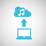 Computer connected cloud music. Vector illustration eps 10 Stock Photos