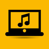 Computer connected cloud music Royalty Free Stock Images