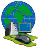 Computer connected to globe Royalty Free Stock Photo