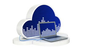 Computer connected to music cloud server, Cloud music concept stock video footage