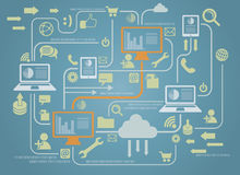Computer Connection. A series of computers is connected to the cloud over the internet stock illustration