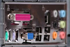 Computer connectors. Varicoloured computer connectors on backboard Royalty Free Stock Photography