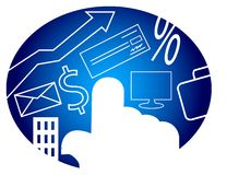 Computer consumerism. Illustrated computer consumerism logo design Royalty Free Stock Image