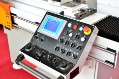 Computer control panel CNC machine. On plant royalty free stock photography