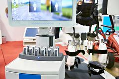 Computer control of rehabilitation robotic complex. For restoration of walking skills royalty free stock image