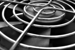 Computer cooling fan, close-up. Close view of a cooling fan of the type used in most personal computer systems Stock Image