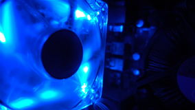 Computer cooling fan is turned on, the blue light HD stock footage