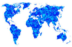 Computer cords in blue world map, isolated. Blue worlds map and plugs of computer cords, double exposure Royalty Free Stock Photos