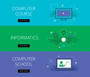 Computer Course. Informatics. Computer School.. Flat design science education banners template set. Education concept for web and app design Royalty Free Stock Photography