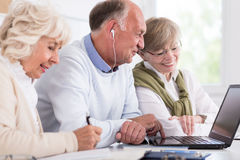 Computer course for senior people Royalty Free Stock Image