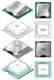 Computer CPU. Illustration of computer CPU in different styles - flat and isometric, color and black and white Royalty Free Stock Photography