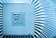Computer cpu (central processor unit) chip Royalty Free Stock Image