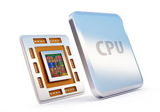 Computer cpu (central processor unit) chip. 3d rendered illustration of computer cpu (central processor unit) chip isolated on white Stock Photo