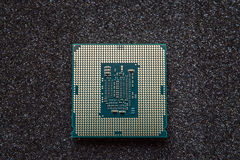 Computer cpu (central processor unit) chip on mainboard Royalty Free Stock Photos