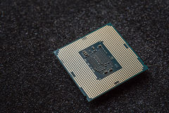 Computer cpu (central processor unit) chip on mainboard Royalty Free Stock Images