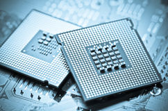 Computer cpu (central processor unit) chip Royalty Free Stock Images