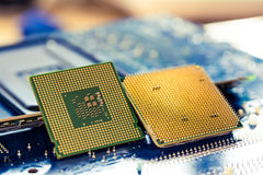 Computer cpu or central processor unit chip on mainboard. Technology background with computer processors CPU concept and blue circuit, board texture Stock Photography