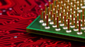 Computer CPU Chip. On Red Mainboard, Extreme Close Up stock video footage