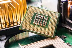Computer CPU component close up Royalty Free Stock Photos