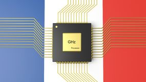 Computer CPU with flag of France Royalty Free Stock Photos