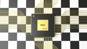 Computer CPU with Formula One flag Royalty Free Stock Photography