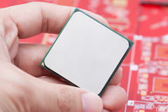 Computer CPU on hand Stock Photography