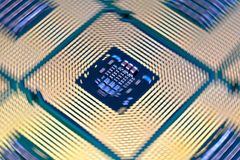 Computer CPU Processor aligned. Close Up on Computer CPU Processor aligned. Rotational effects Stock Photography