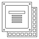 Computer CPU processor chip icon outline royalty free illustration