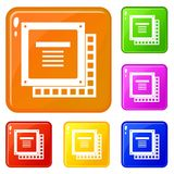Computer CPU processor chip icons set vector color vector illustration