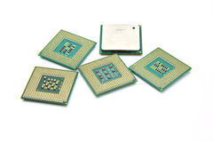 Computer CPU Processor Chip. Isolated over white Stock Photo