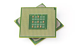 Computer CPU Processor Chip. Isolated on white background Royalty Free Stock Photography