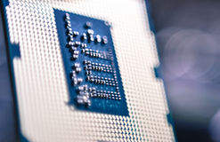 Computer CPU processor micro chip close up in details Royalty Free Stock Photo