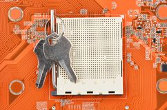 CPU slot and key Royalty Free Stock Photography