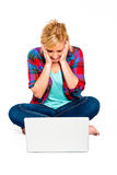 Computer Crash. Beautiful Blond Woman Frustrated by Computer Crash Stock Photo