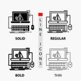 Computer, crash, error, failure, system Icon in Thin, Regular, Bold Line and Glyph Style. Vector illustration stock illustration