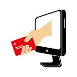 Computer with credit card money icon Royalty Free Stock Photography