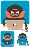 Computer Crime. Criminal using computer to commit crime. The illustration is in 3 versions Stock Images