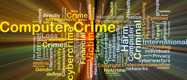 Computer crime background concept glowing. Background concept wordcloud illustration of computer crime glowing light Royalty Free Stock Photos