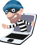 Computer crime cartoon Royalty Free Stock Image