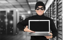 Computer crime. Internet thief white collar crime computer password crime Royalty Free Stock Images