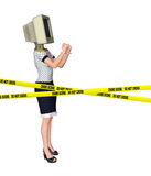 Computer Crime Office Lady Hacker Arrested Illustration. White collar crime Royalty Free Stock Images