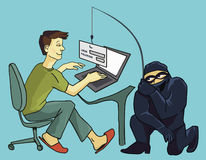 Computer Crime, phishing scammer, fake login page. Cartoon illustration of a computer Crime, phishing scammer. Man typig his password in fake phishing page Stock Images