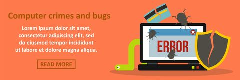 Computer crimes and bugs banner horizontal concept Royalty Free Stock Photo