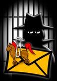 Computer criminal. Illustration of Computer criminal / detektive with prison bars and spam mail Stock Image