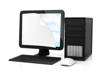 Computer with curly corner paper sheet on screen Stock Photography