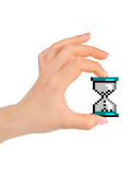 Computer cursor clock in hand Royalty Free Stock Photo